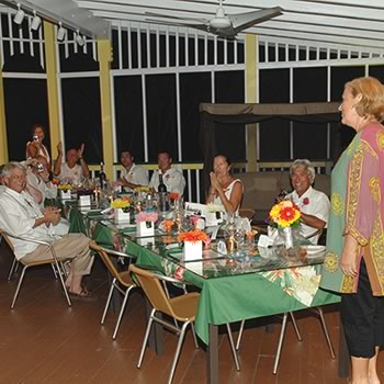 Image of hostess Connie chatting to the wedding guests in Northside Bistro restaurant brewery in St. Thomas USVI
